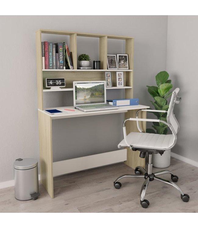 Bureau met schappen 110x45x157 cm spaanplaat wit en eikenkleur
