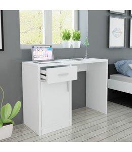 Bureau met lade en kastje 100x40x73 cm wit