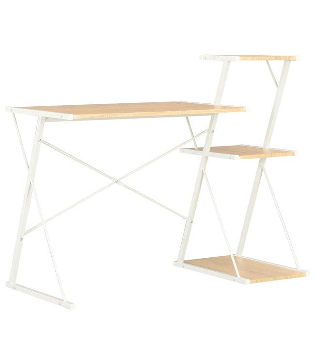 Bureau met schap 116x50x93 cm wit en eikenkleurig