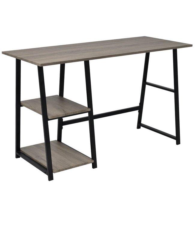 Bureau met 2 schappen grijs en eikenkleurig