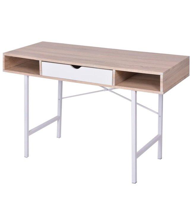bureau met 1 lade eiken en wit