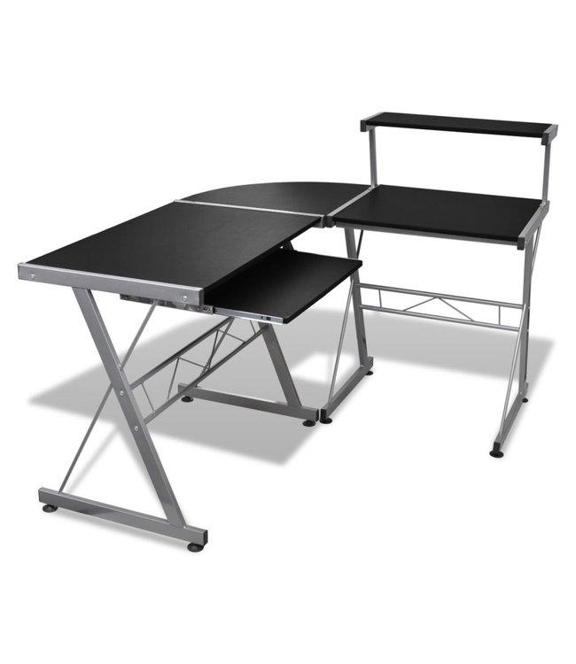 Computer bureau met uitschuifbaar toetsenbordblad zwart