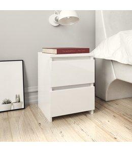 Nachtkastje 30x30x40 cm spaanplaat hoogglans wit