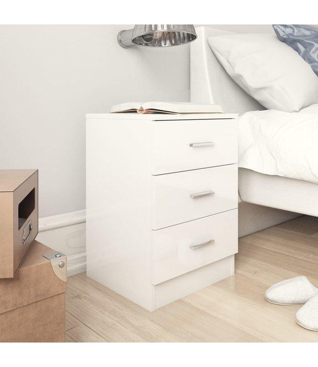 Nachtkastje 38x35x56 cm spaanplaat hoogglans wit