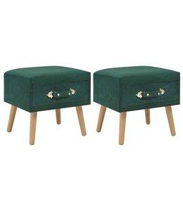 Nachtkastjes 2 st 40x35x40 cm fluweel groen