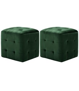 Nachtkastjes 2 st 30x30x30 cm fluweel groen