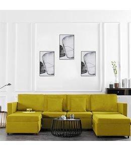 Slaapbank uittrekbaar 4-zits stof geel
