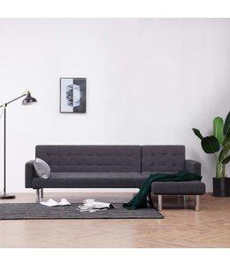 Slaapbank L-vormig polyester donkergrijs