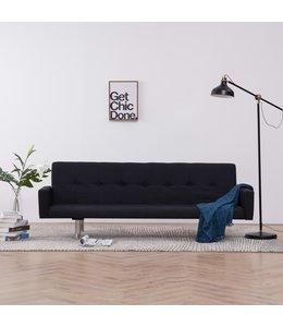 Slaapbank met armleuning polyester zwart
