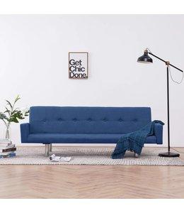 Slaapbank met armleuning polyester blauw