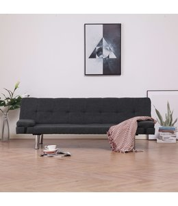 Slaapbank met twee kussens polyester donkergrijs