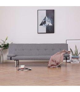 Slaapbank met twee kussens polyester lichtgrijs