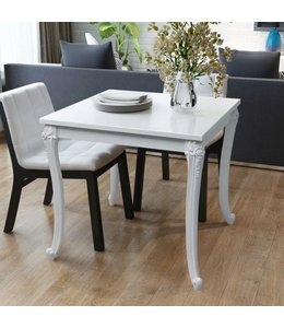 Eettafel 80 x 80 x 76 cm hoogglans wit