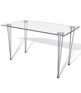 Eettafel met glazen tafelblad transparant