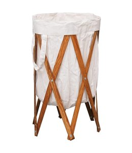 Wasmand inklapbaar hout en stof crème
