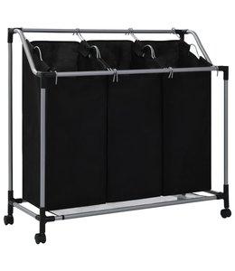 Wassorteerder met 3 zakken staal zwart