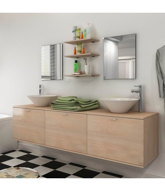 Badkamermeubelset 10-delig met kraan en wasbak beige