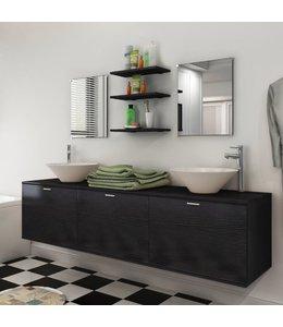 Badkamermeubelset 10-delig met kraan en wasbak zwart