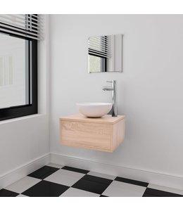 Badkamermeubelset met wasbak beige 3-delig