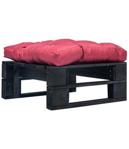 Tuinpoef met rood kussen pallet hout zwart