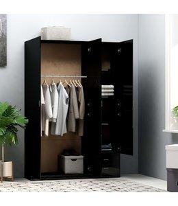 Kledingkast 3-deurs 120x50x180 cm spaanplaat hoogglans zwart