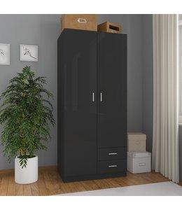 Kledingkast 80x52x180 cm spaanplaat hoogglans zwart