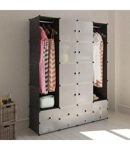 Kast modulair met 18 vakken 37x146x180,5 cm zwart en wit