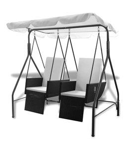 Schommelstoel voor buiten 2-zits met luifel poly rattan zwart