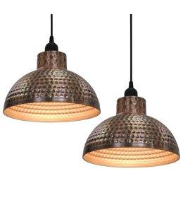 Plafondlampen halve bolvorm koperkleurig 2 st
