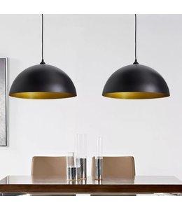 Plafondlampen 2 st in hoogte verstelbaar halfrond zwart