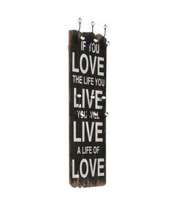 Wandkapstok met 6 haken LOVE LIVE 120x40 cm