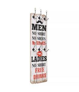 Wandkapstok met 6 haken MEN LADIES 120x40 cm
