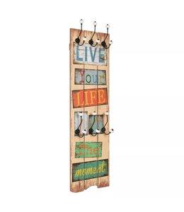 Wandkapstok met 6 haken LIVE LIFE 120x40 cm