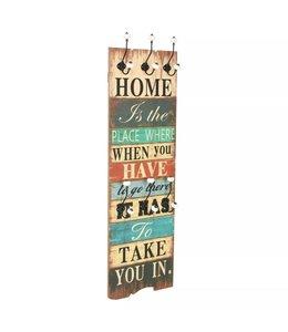 Wandkapstok met 6 haken HOME IS 120x40 cm