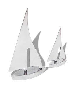 Zeilboot decoratie 2 stuks zilver aluminium