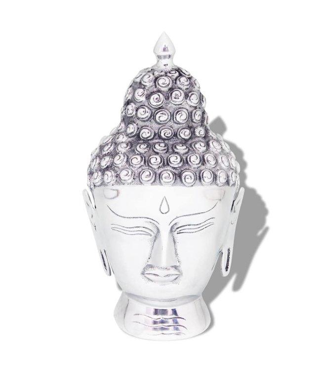 Boeddhahoofd ornament aluminium zilver