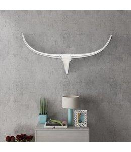 Stierenkop voor aan de muur aluminium 100 cm zilverkleurig