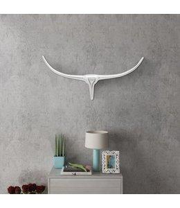 Stierenkop voor aan de muur aluminium 75 cm zilverkleurig