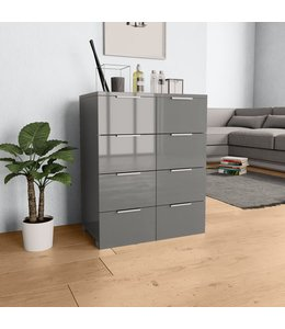 Dressoir 60x35x76 cm spaanplaat hoogglans grijs