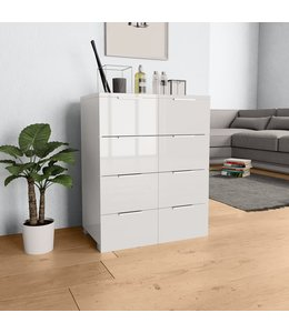 Dressoir 60x35x76 cm spaanplaat hoogglans wit