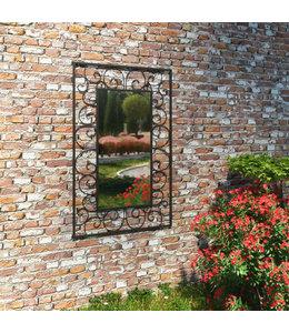 Tuin wandspiegel rechthoekig 50x80 cm zwart