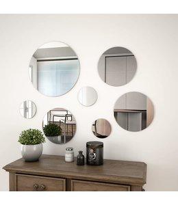 Wandspiegelset rond glas 7-delig