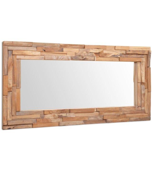 Decoratieve spiegel rechthoekig 90x60 cm teakhout