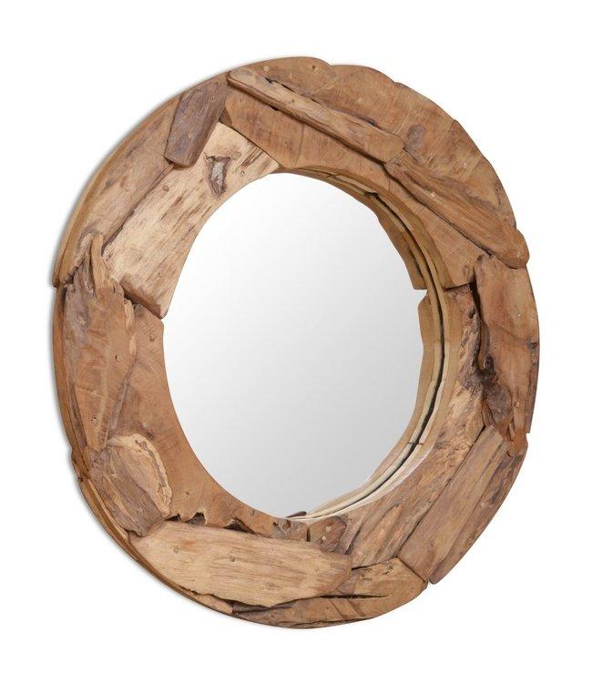 Decoratieve spiegel rond 80 cm teakhout