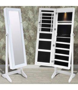 Sieradenkast met spiegeldeur en LED-lamp (wit)
