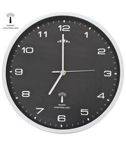 Wandklok met quartz uurwerk radiogestuurd 31 cm zwart