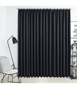Gordijn verduisterend met haken 290x245 cm zwart