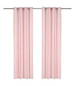 Gordijnen met metalen ringen 2 st 140x175 cm katoen roze streep