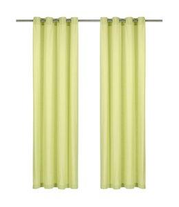Gordijnen met metalen ringen 2 st 140x225 cm katoen groen