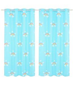 Kindergordijnen verduisterend 140x240 cm regenboog blauw 2 st
